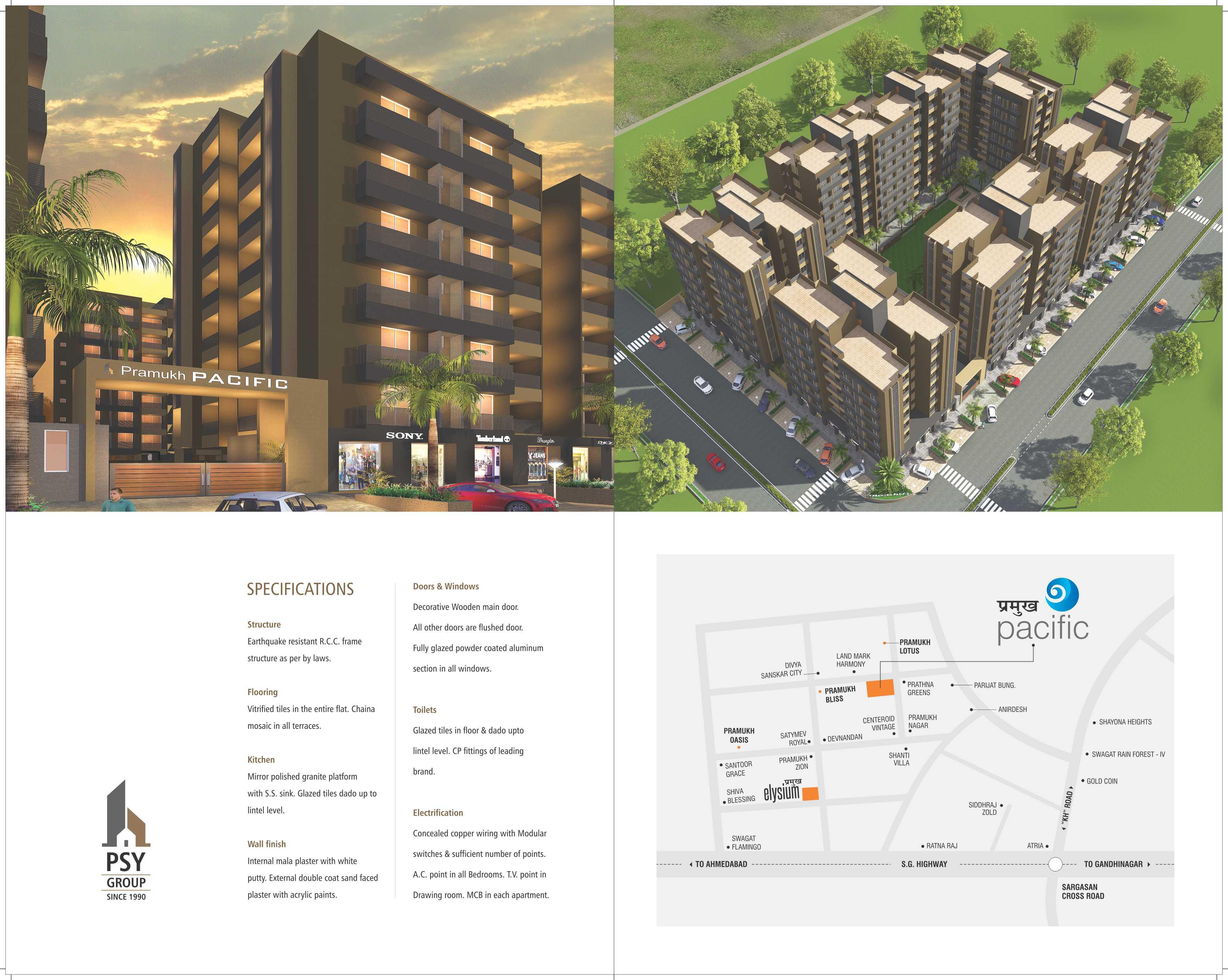 Pramukh Pacific 2 & 3 BHK Apartments & Shops at Gandhinagar | PSY